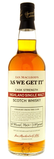 AS WE GET IT HIGHLAND CASK STRENGTH 70CL
