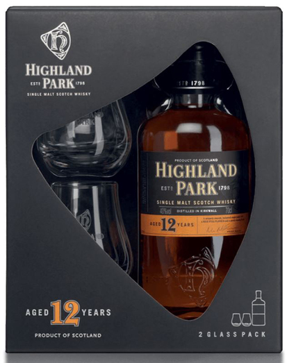 HIGHLAND PARK 12YO GIFT PACK INCLUDES GLASSES 40%
