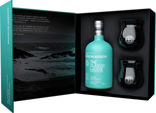 BRUICHLADDICH CLASSIC LADDIE  50% 70CL WITH 2 BRANDED DRAM GLASSES