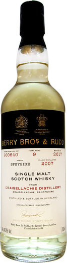 CRAIGELLACHIE 9YO 2007 BERRY BROS. & RUDD 46%  70CL