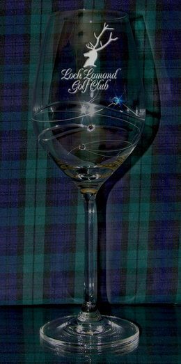 DIAMONTE WINE GLASS WITH THREE CRYSTALS 36CL