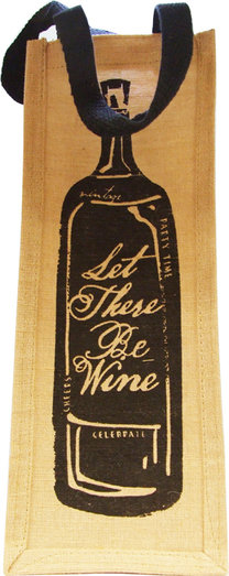 JUTE 1 BOTTLE BAG - LET THERE BE WINE