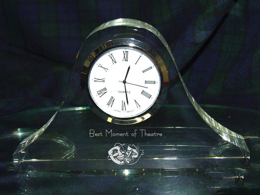OPTICAL CRYSTAL MANTEL CLOCK 15CM SILVER FACE PRESENTATION BOXED