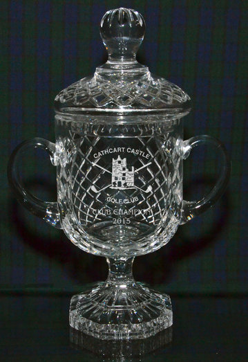 PANEL CUT CRYSTAL TROPHY CUP TWO HANDLED 35CM