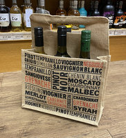 BOTTLE (6) CARRIER JUTE PRINT GRAPE VARIETIES