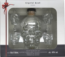 CRYSTAL HEAD VODKA WITH 4 SHOT GLASSES 40% 70CL