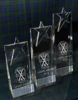 CRYSTAL STAR WEDGE AWARD 21CM * DISCONTINUED - LIMITED STOCK