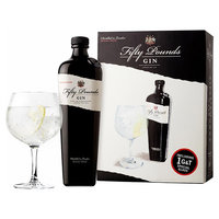 FIFTY POUND GIN 43.5% 70CL GIFT PACK WITH 1 GLASS