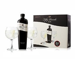 FIFTY POUND GIN 43.5% 70CL GIFT PACK WITH 2 GLASSES