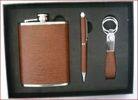 HIP FLASK 6OZ SET, PEN & KEYRING