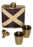 HIP FLASK 6OZ SET, SALTIRE DESIGN WITH CUPS
