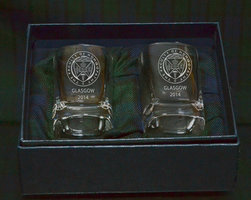 PAIR OF POLISHED SQUARE TOT GLASSES