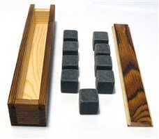 WHISKY STONES IN PINE BOX - 9 IN SET